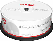 25 Primeon DVD+R DL 8,5Gb 240Min 8x silver protect disc Spindel Double Layer