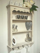 White Shabby Chic Wall Unit Shelf Storage Cupboard Cabinet Hooks Vintage Style