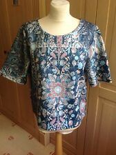 GREAT NEXT BLUE & TURQUOISE FLORAL PATTERNED SHORT SLEEVE TOP UK SIZE 14 BNWT