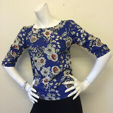 Dorothy Perkins Ladies Vintage Style Blue Floral Blouse Top UK Size 8