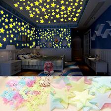 100 pcs Wall Glow In The Dark Stars Stickers Kids Bedroom Nursery Room Decor UK