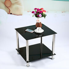 Black Glass & Stainless Steel Small Display Stand,Side,Coffee Table Furniture UK