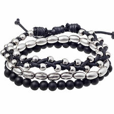 Men's 'Metro' Black & Silver Bead & Cord Surfer Bracelet 3pc Set