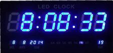 Wunderschöne Blau LED digital Wanduhr mit Datum Temperatur Alarm Clock