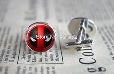 Cufflinks Glass Silver Set Of 2 Deadpool New & Sealed