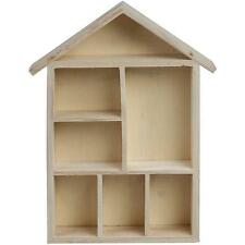 House Shaped Wooden Shelf Box - Storage Craft Home - Decorate Gift Shelving
