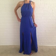 Women's Halter Tie Neck Sexy Evening Party Casual Navy Blue Maxi Dress Size 10