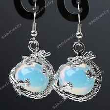 Pair Opalite Gemstone Dragon Wrap Dangle Eardrop Hook Earrings Women Jewelry