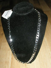 18K White Gold Plated Chain Silver No Stone Necklace Men Christmas Birthday Gift