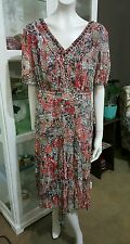 BIB dress.Sz18.Floral chiffon over brown jersey.Beaded neckline.As new condition
