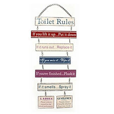 TOILET RULES HANGING PLAQUE METAL BATHROOM SIGN FUNNY MESSAGE DOOR WALL LOO NEW