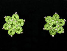 E058- Timeless 9ct Yellow Gold Natural Peridot Blossom Stud Earrings Cluster