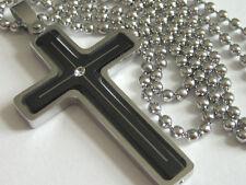 NEU Edelstahl KREUZ Anhänger mit Halskette Schwarz u. Silber Kette Kreuzanhänger