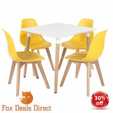 Retro Chair Set Of Four  70's Inspired  Style Yellow Kitchen Dining Chairs