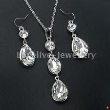Silver Plated Crystal Waterdrop Necklace Earrings Diamante Bridal Jewelry Set