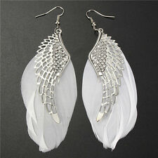 Big Pair Of Real White Feather Earrings With Tibetan Silver Angel Wings/Hook