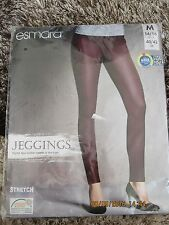 Ladies Stretchy Jeggings Burgundy Faux Leather Front inserts M 14 BNWT