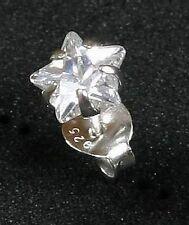 Ohrstecker STERN Zirkonia Kristall Silber 925  extra flach Ohrschmuck
