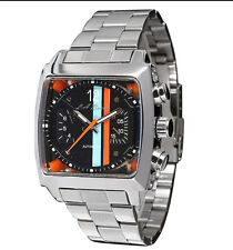 MENS LA BANUS AUTOMATIC TW WATCH STAINLESS STEEL BLACK DIAL MONACO CHRONOGRAPH