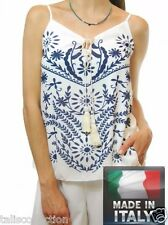 Mendi Blue Printed Strappy Vest Relaxed Fit White Top - Made in Italy IA-0405