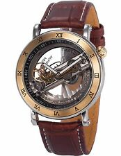 Steampunk Transparent Skeleton Mechanical Men's Sport Wrist Watch Coffee Leather