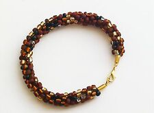 "BEAUTIFUL HANDMADE GOLDEN EARTH BROWN BEADED KUMIHIMO BRACELET 9.0"" LONG"