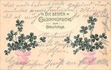 BG4513  geburtstag clover  embossed happy birthday germany greetings