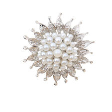 Silver Plated Brooch Pin Crystal Daisy Flower Faux Pearl Bridal