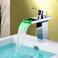 LED Bathroom Basin Waterfall Faucet Tap Brass Chrome Single Handle No Battery