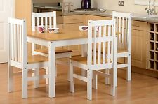 LUDLOW Dining Set in Oak Effect with 4 White chairs - Free Delivery