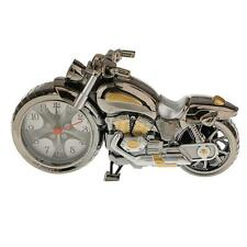 Battery Operated Kids Room Office Decor Motorbike Pattern Alarm Clock Silver