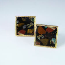 Pietra Dura Agate Inlay Gold Plated Sterling Silver Cufflinks Cuff Links 1960s