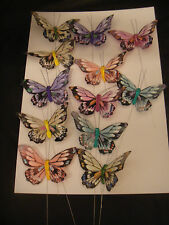 12 FEATHER BUTTERFLY ON WIRE ALL COLOURS  size 8cm across