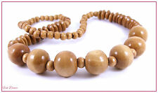 LOVELY CHUNKY LIGHT BROWN WOODEN BEAD NECKLACE. ETHNIC, TRIBAL, CASUAL, DRESS.