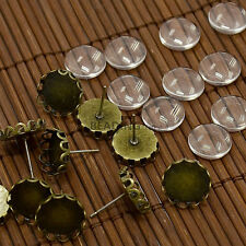 10Sets DIY 12x5~6mm Glass Cabochons and Antique Bronze Brass Ear Stud Earrings