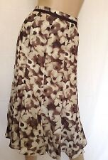 Womens Brown & Ivory Floral Print Chiffon Skirt  Size 16  -ref 4