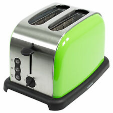 Sabichi Toaster Stainless Steel Lime Green 2 Slice Electric Browning Control NEW