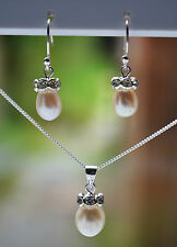"""Sterling Silver 925 Genuine Fresh Water Pearl Jewellery Set & 16"""" Curb Chain"""