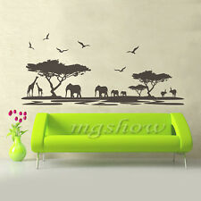 Removable African Animal Safari Wall Sticker Elephant Giraff DIY Tree Art Home