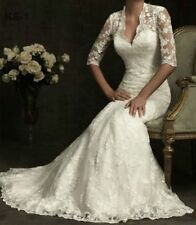 New White/Ivory Bridal Gown Lace Wedding Dress Custom Size 4 6 8 10 12 14 16 18+