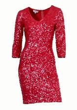C.M. Schönes Designerkleid/Kleid von Heine in koralle/rot Gr. 44/46,  (°916)