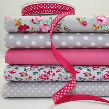 5 x FQ BUNDLE - MEDFIELD ROSE - GREY PINK - 100% COTTON FABRIC + 1m ribbon
