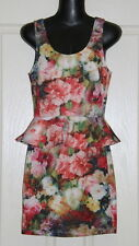 Womens size S (6) cute floral stretch peplum dress made by VALLEY GIRL