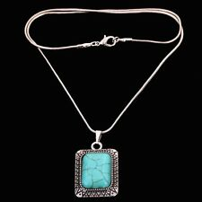 Tibetan Silver edge Carved Square Turquoise Pendant Necklace Long Chain Jewelry