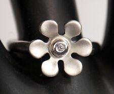 925 ECHT SILBER ***  Ring Blume, Diamant Brillant 0,02 ct. *** Größenauswahl