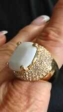 Large Yellow Gold Plated Ring White Stone Crystal Embedded Size 8