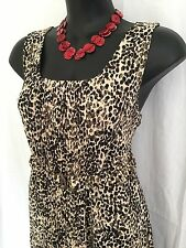 Size 16 Smart Flattering Animal Print Belted Summer Dress With Pleated Detail