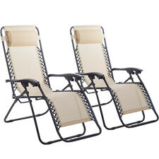 Zero Gravity Chairs Case Of 2 Lounge Patio Chair Outdoor Yard Beach w/Cup Holder