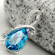 BLACK FRIDAY DEALS Blue Crystal Tear Necklace Love Wife Xmas Gifts For Her Women