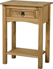 Corona 1 drawer Console Hall Table shelf Mexican Pine Solid Wood Furniture Waxed
